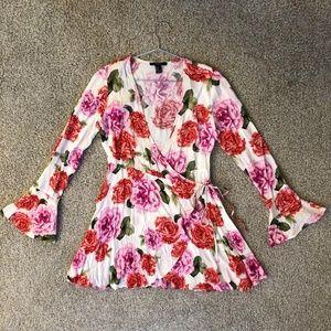 Forever 21 | White Rose Wrap Dress [Medium]